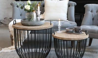 Sorte sofabord med trelokk, sett av 2