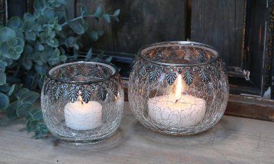 Krakelert telysholder med sølv dekor (Liten)