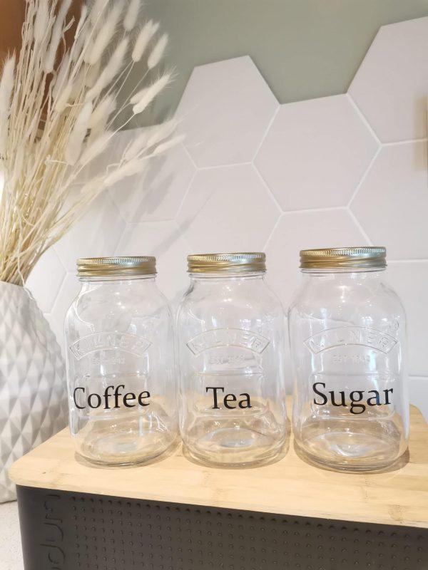 Kilnerglass Coffee, Tea & Sugar